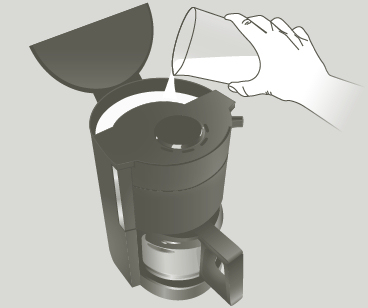 Pour The Solution Into Water Tank Without Coffee