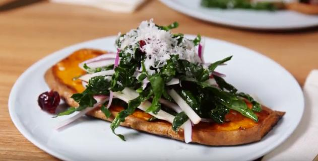KRUPS Sweet Potato Kale Toast Open Face Sandwich